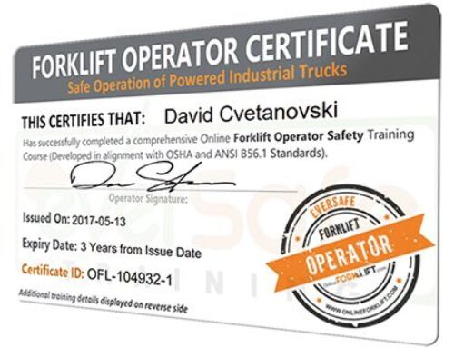 Students Achieve Forklift Operator Certification